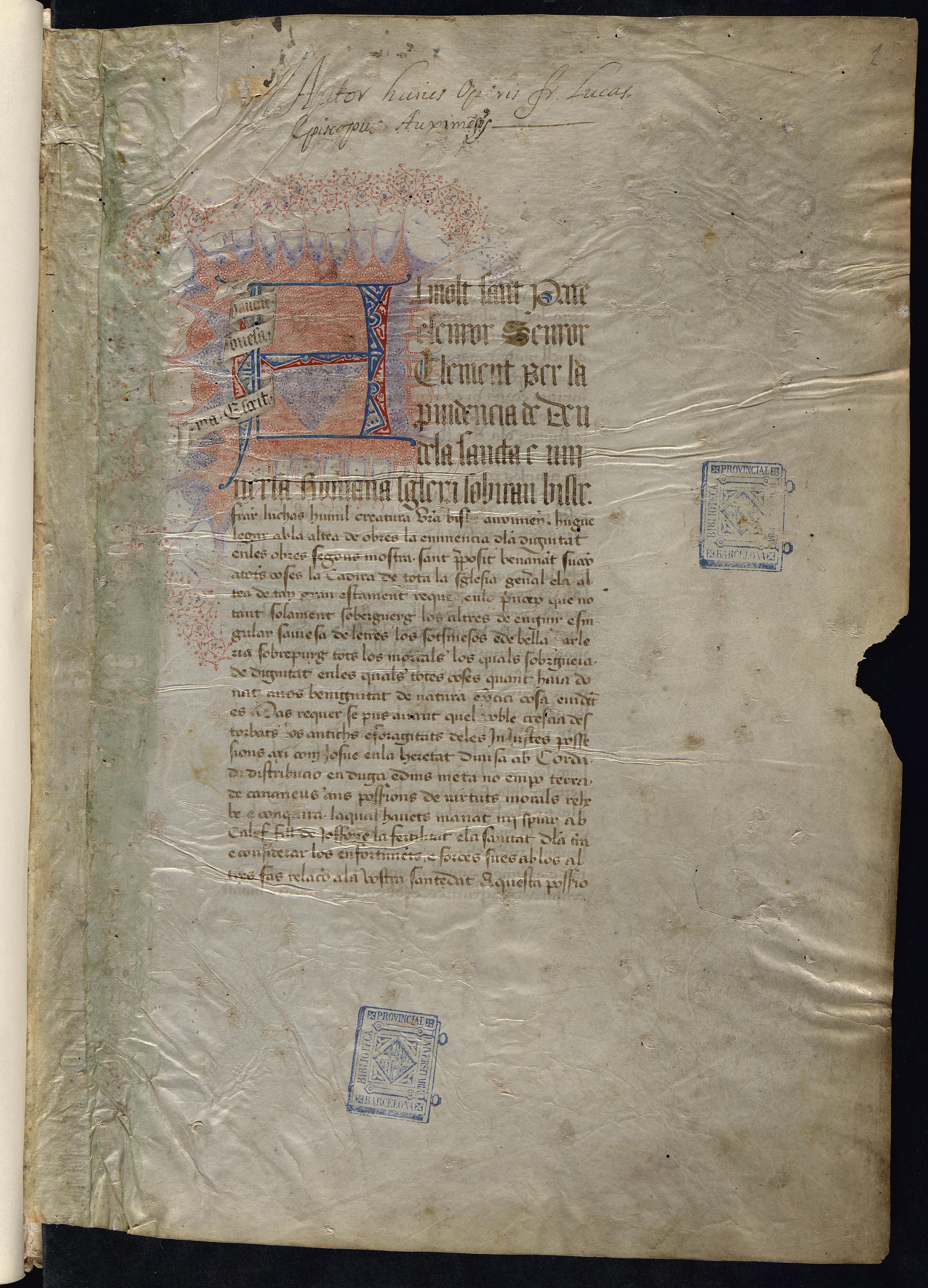 Taula per alphabet sobre tots los libres de Seneca e la exposició d'ells